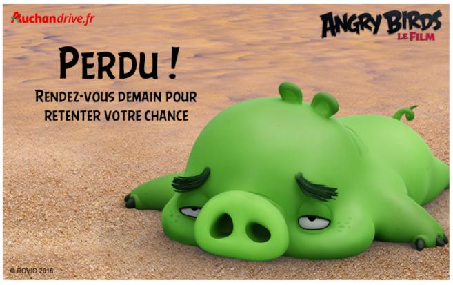Jeu Angry Birds Auchan Drive Perdu